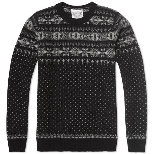 Jamieson's of Shetland Jacquard Half Fair Isle Crew Neck Knit